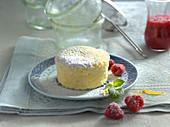 Mini silk cake (Japanese souffle cheesecake) baked in a glass