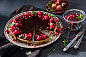 Chocolate tart with pomegranate icing