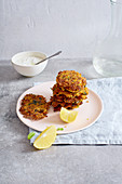 Israelian potato latkes with lemon and yoghurt