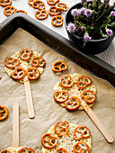 Cheese pretzel lollies