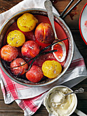 Baked plums with vanilla yogurt