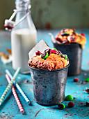 Mug cake with chocolate sweets