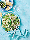 Warm Greek rice salad with lemon hones dressing