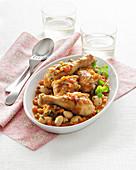Braised chicken drumsticks with white beans