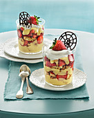 Strawberry desserts with muscat cream, whipped cream and chocolate wheels