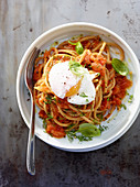 Kamut spaghetti cooked in tomato sauce with a poached egg
