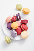 Macarons on a white plate