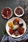 Ratatouille mit Linsen, Buchweizen, Perlgraupen und Tomaten