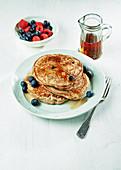 Banana, blueberry and buckwheat pancakes