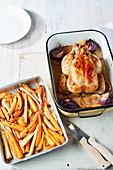 Lemon roast chicken with orange maple roasted roots