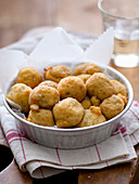 Deep-fried mozzarella balls