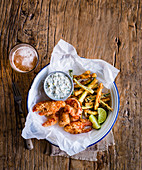 Lobster goujons with courgette fries