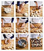 Marmorierte Bagels zubereiten