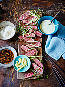 Seared sirloin steak with Japanese dips