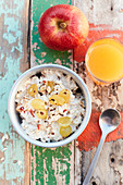 Bircher muesli with apple and grapes