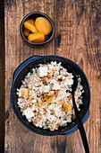 Couscous with chicken, apricots and macadamia nuts