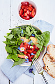 Wild herb salad with marinated strawberries