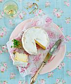 Camembert and white wine glass