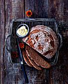Rye-spelled bread, sliced