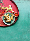 Spring rolls with roasted chilli dipping sauce