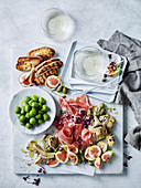 Fig, prosciutto and antipasti salad