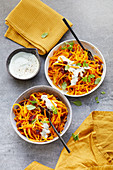 Pumpkin pasta with cranberries and gorgonzola dip