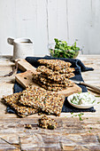 Keto crispbread with seeds and nuts (keto cuisine)
