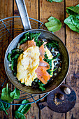 Omelette with spinach and salmon (keto cuisine)