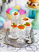 Easter eggs filled with scrambled egg and roe