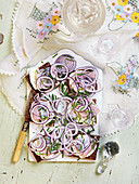 Easter ryebread with herring, onion and chives