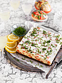 Easter cheesecake with salmon, dill and lemon