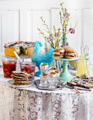 Easterbuffet with sliders, pie, pickled herring and filled egg