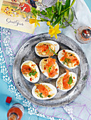 Easter eggs with salmon, smoked paprika, tabasco and mayonaise