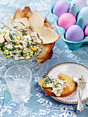 Easter roasted bread with egg salad