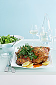 Barbecued Butterflied Turkey with Lemon and Coriander Butter
