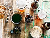 Dunkles und helles Craft Beer