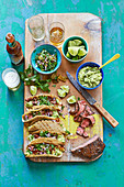 Carne asada tacos with pickled jalapeno and coriander salsa