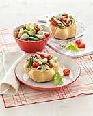 Vegetable salad in bread rolls