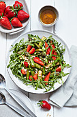 Strawberry and asparagus salad with arugula