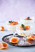 Yogurt pannacotta with blood oranges and mint