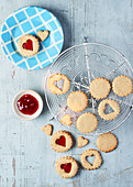 Jammy Almond Heart Cookies
