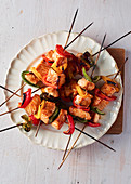 Salmon Pepper Teriyaki Skewers