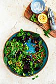 Lentil Beetroot Salad with Peas