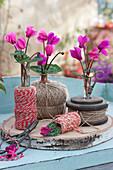 Kleine Sträußchen aus Alpenveilchen, ungewöhnlich dekoriert mit Garnrollen und Schnur