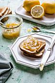 Toast with homemade lemon jam made from Meyer lemons