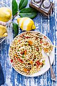 Pasta with bottarga and lemon celery pesto