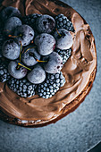 Cake with chocolate cream Frosting and Frozen Berries