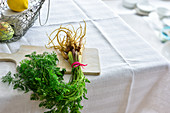 Ein Bund wilde Möhren auf Tisch