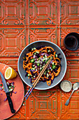 Asian slaw with carrots, red cabbage and sesame seeds