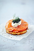 Rösti with homemade salmon, crème fraîche and caviar